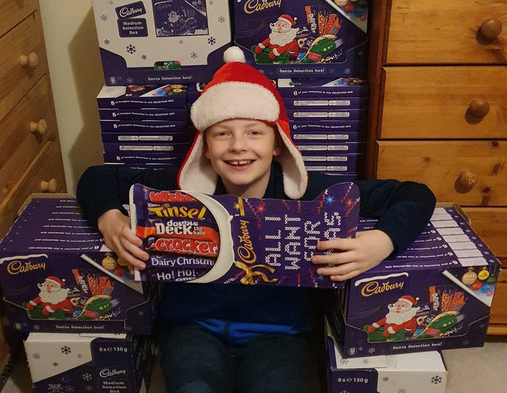 Boy's 1,257 selection boxes for hundreds of young carers