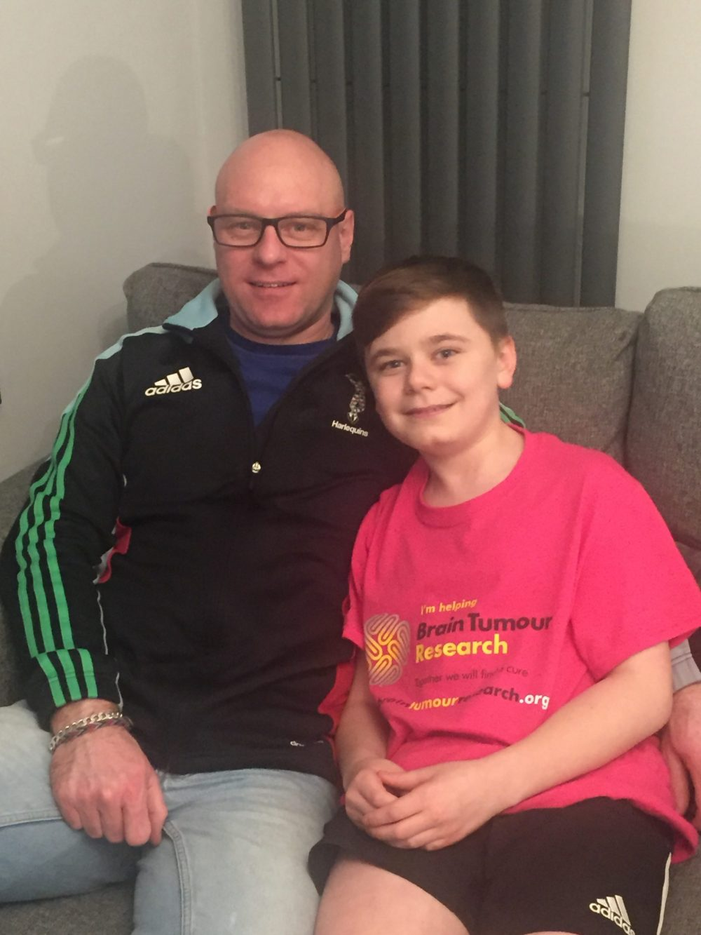 Dad's brain tumour strength inspires 12-year-old son to lockdown challenge