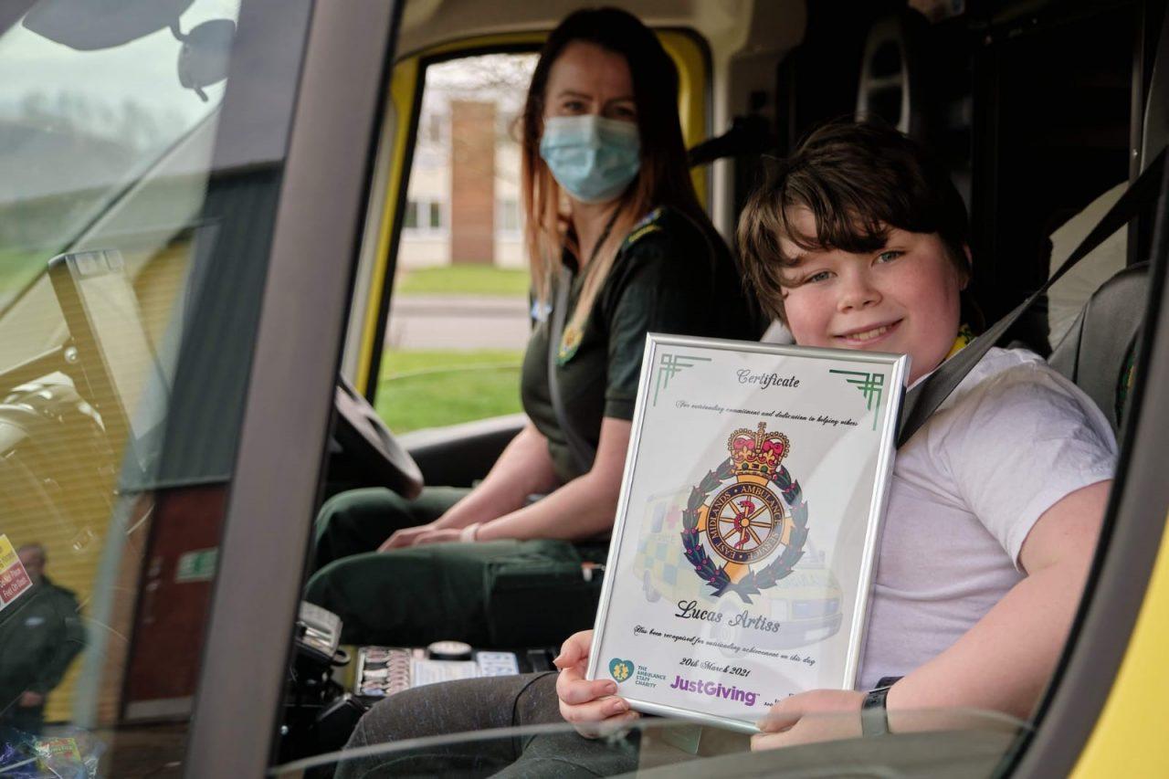 Ambulance loving Lucas raises £1,500 for The Ambulance Staff Charity (TASC)