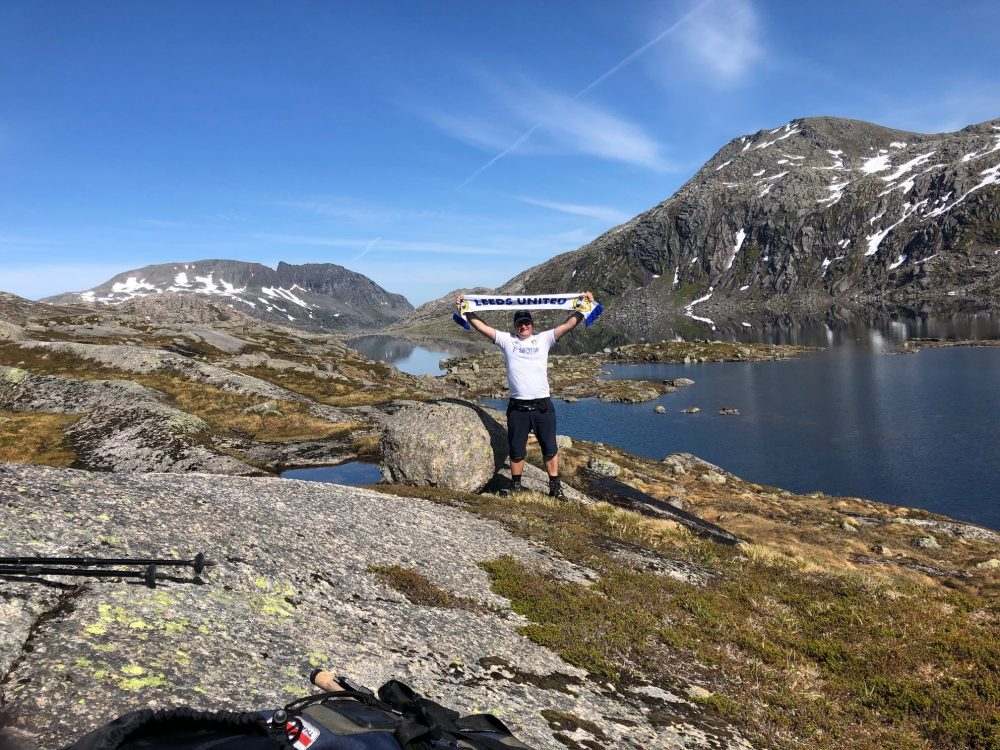 Leeds United fan raising thousands for local charities by walking across Norway