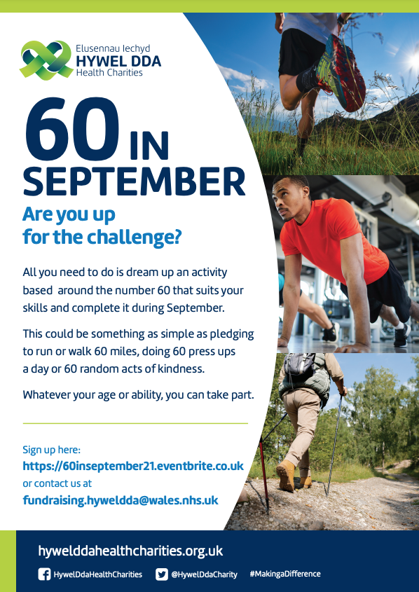 Hywel Dda Health Charities launches its '60 in September' challenge for 2021