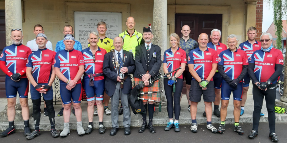 Help For Heroes cyclists pay respects at Downton Memorial Hall