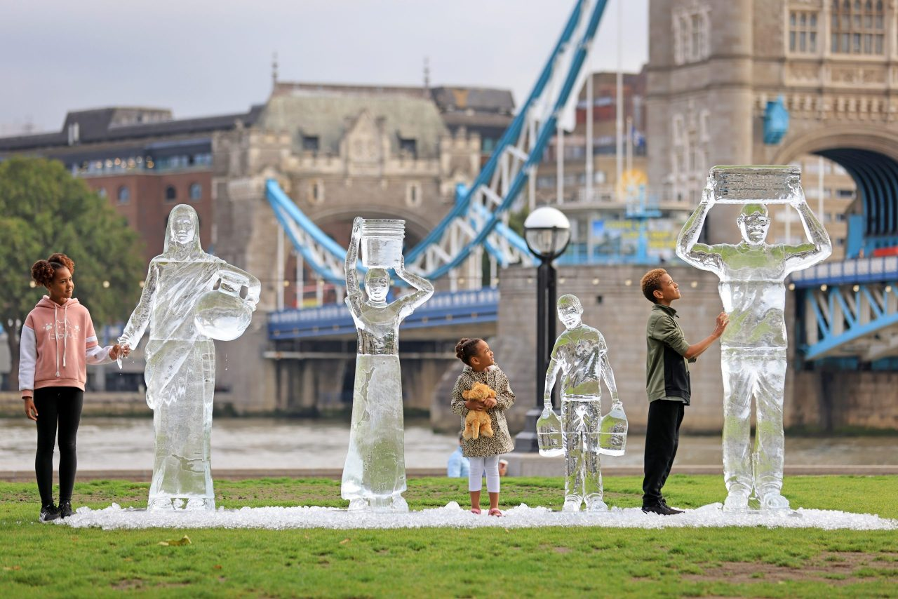 WaterAid ice sculptures by the Thames show fragility of water and the threat posed by climate change